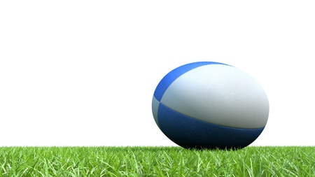 world cup: rugby ball on grass 3D render for world cup Stock Photo