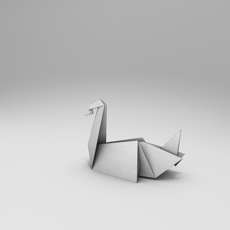 papery: origami 3D render with  stroke and soft background