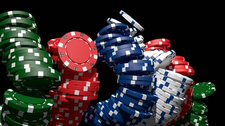 Poker casino chips 3D render with black background