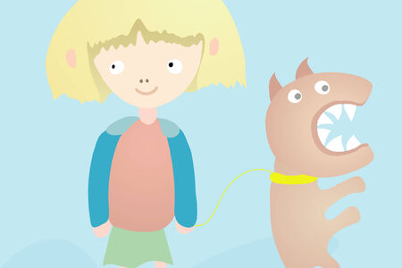perro furioso: Chica con Angry Dog