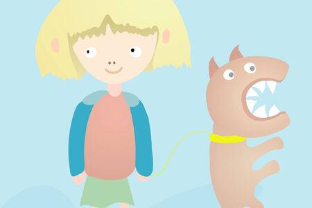 angry dog: Girl With Angry Dog Illustration