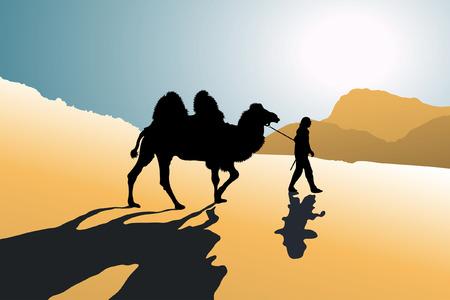 reins: Men with a camel crossing hot desert