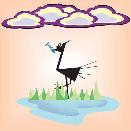 bird eat fish cartoon Ilustracja