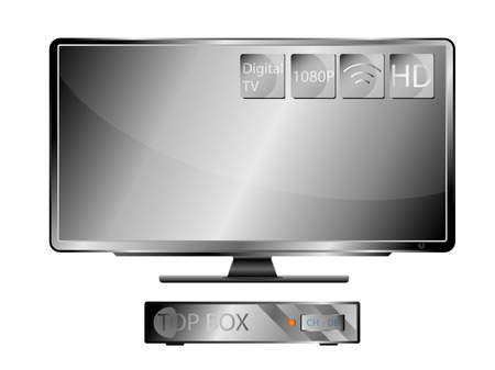 lcd screen: Television Widescreen and Top Box EPS 10 Vector Illustration