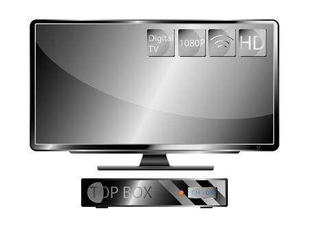 widescreen: Television Widescreen and Top Box Illustration