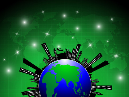 city background: globe city silhouette abstract background Illustration