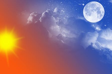 sol y luna: el cielo con el sol, la luna, las estrellas y las nubes
