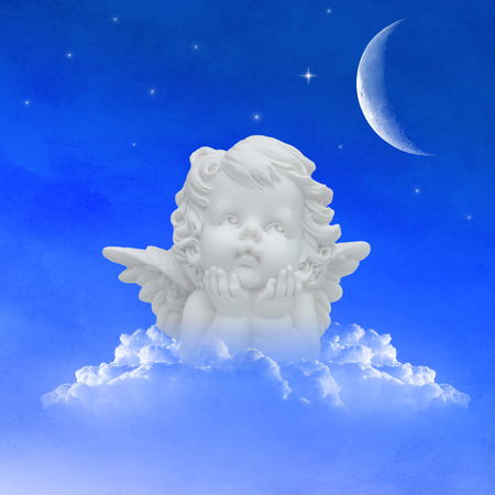 angel on clouds in the night sky with moon and stars