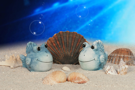 funny fish under water with sea shell decorations
