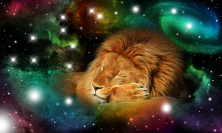 sign of the zodiac leo in a colorful universe with some galaxies and stars