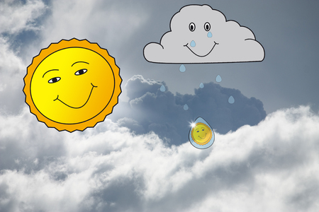 Gray sky with smiling sun and crying cloud Zdjęcie Seryjne - 103634565