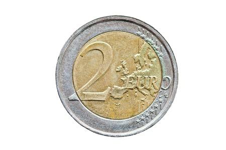 2 euromunt geïsoleerd op witte achtergrond Stockfoto