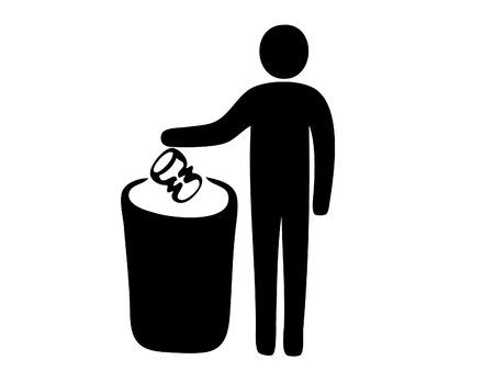dustbin: Pictogram of man putting garbage in dustbin