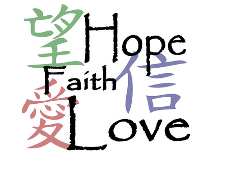 chinese writing: Chinese symbols for hope, faith and love