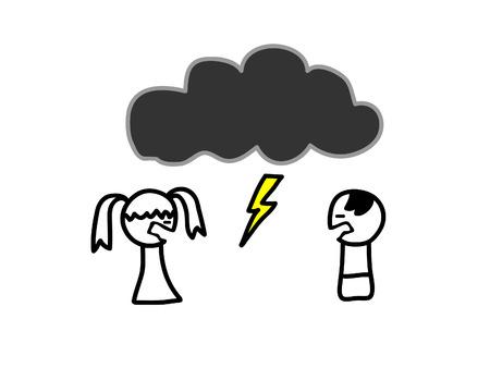 fighting women: Dibujo infantil de un par de lucha Vectores