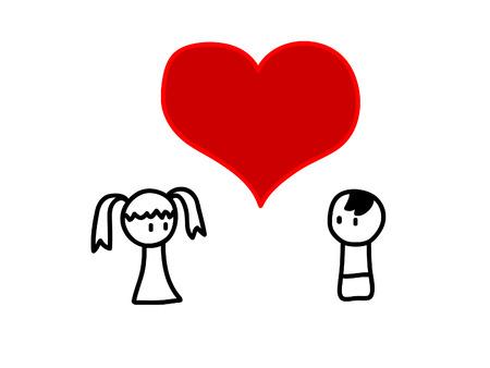 愛のカップルの幼稚な図面