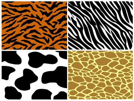 Tiger, zebra en giraffe koe afdrukken