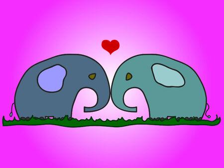 Elephants in love Stock Vector - 8567496