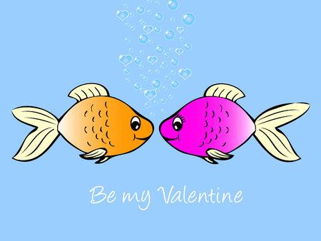 Fish in love  Ilustracja