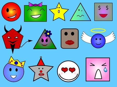 Caras diferentes con diferentes formas geométricas Foto de archivo - 8855770