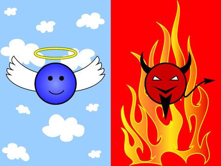Angel en el cielo y el diablo en el infierno Ilustración de vector