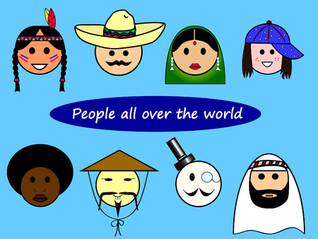 Different nationalities from all over the world Stock Vector - 8855824