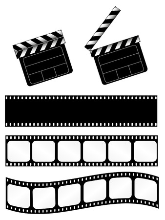 Open and closed movie clapper + 3 film strips Vector
