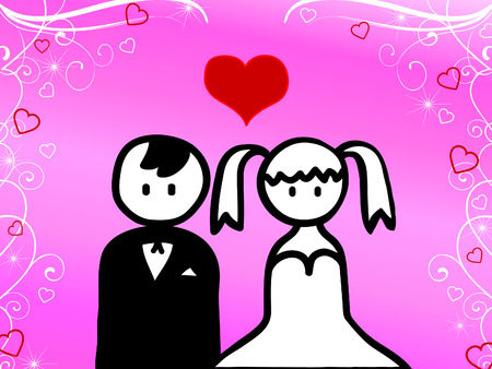 getting married: Cartoon of young couple getting married