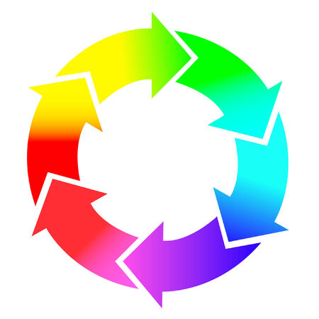circular arrows: Round arrows in rainbow colors