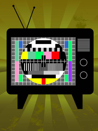 Old television with test screen on grunge background Vector