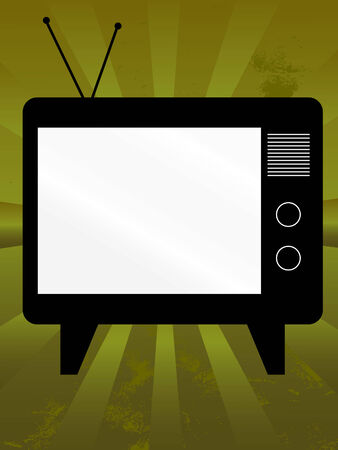 space television: Old television with copy space on grunge background Illustration
