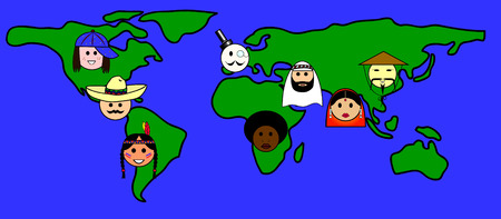 multi cultural: Different nationalities from all over the world Illustration
