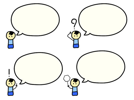 chat box: Cartoon of cute boy with speech bubbles Illustration