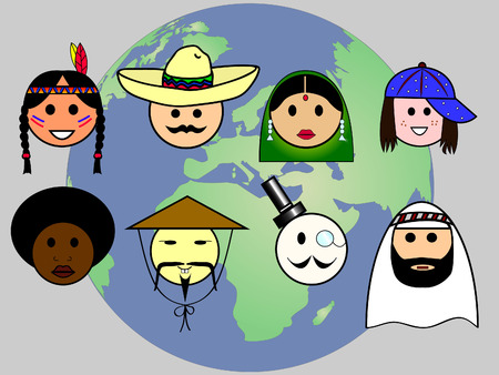 french culture: Different nationalities from all over the world Illustration