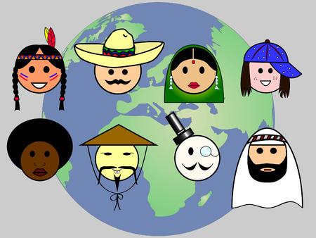 Nationalités différentes de partout dans le monde. Illustration
