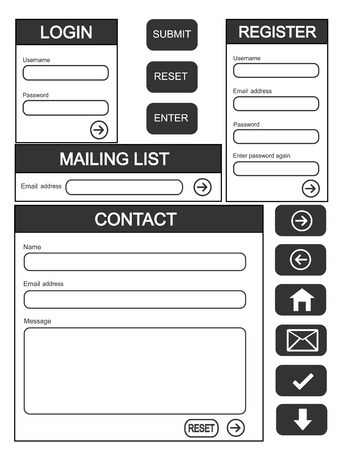 Website login, contact and register form + additional buttons Stock Vector - 9078392