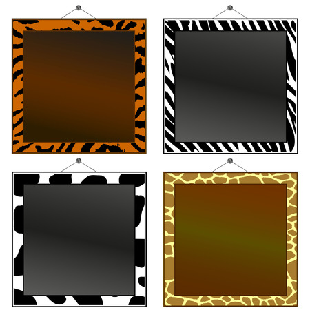 animal print: Quattro animali stampa cornici a mettere le tue foto o testo in.