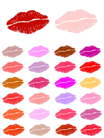 lip gloss: Set of lipstick kisses