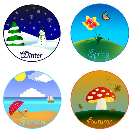 tropical beach panoramic: The four seasons (winter, spring, summer and autumn) Illustration
