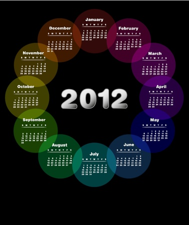 Colorful calendar for 2012. week starts on sunday; - Also available in Spanish