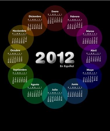 Calendrier coloré 2012 en espagnol. Semaine débute le dimanche.  Illustration