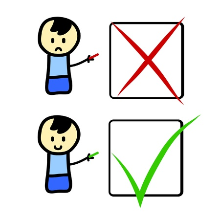 sign ok: Cartoon character with check boxes