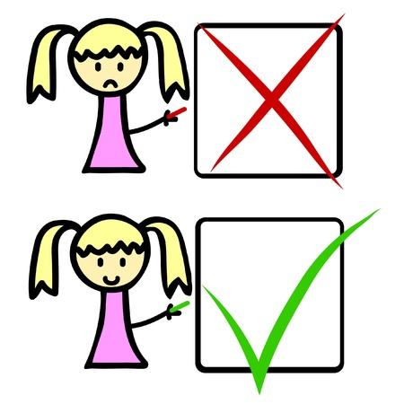 falso: Personaje de dibujos animados con casillas de verificaci�n