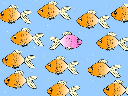 outsider: One single fish swimming in different direction