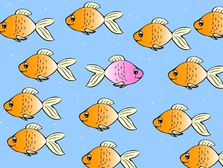 Un seul poisson nageant dans une direction différente