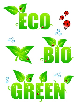 Green eco icons Stock Vector - 9388387