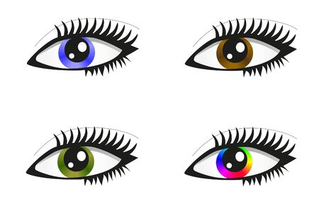 Collection of beautiful colored eyes Vector