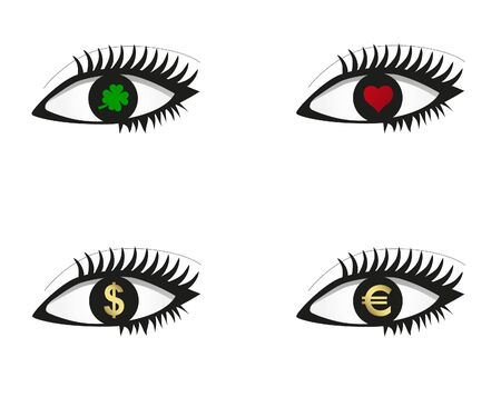 Eye set with money, love and luck icons Stock Vector - 9388385