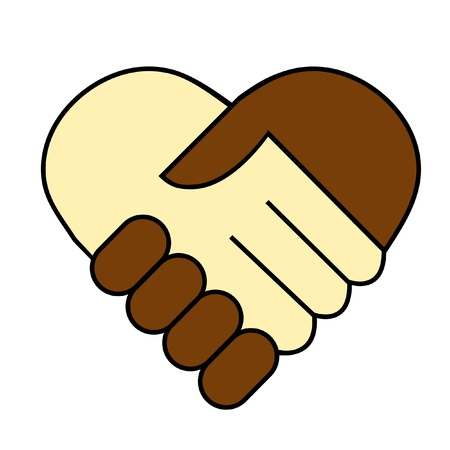 hand shake between black and white man, heart shaped symbol  Vector