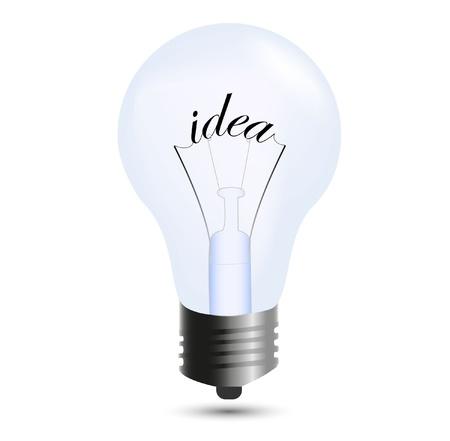 lightbulb idea: Bulbo idea isolata on white Vettoriali